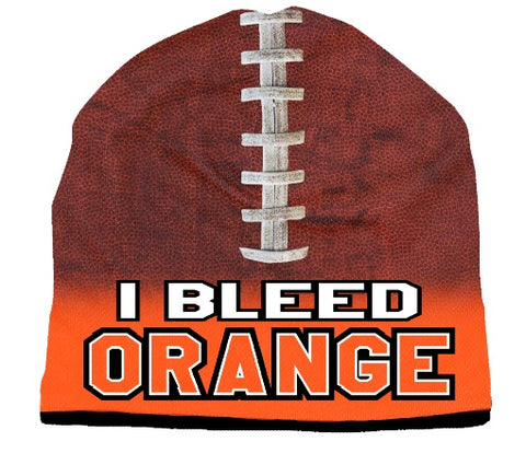 Beanie I Bleed Style Sublimated Football Orange Design