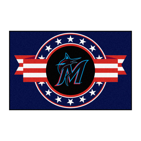 "MLB - Miami Marlins Starter Mat - MLB Patriotic 19""x30"""