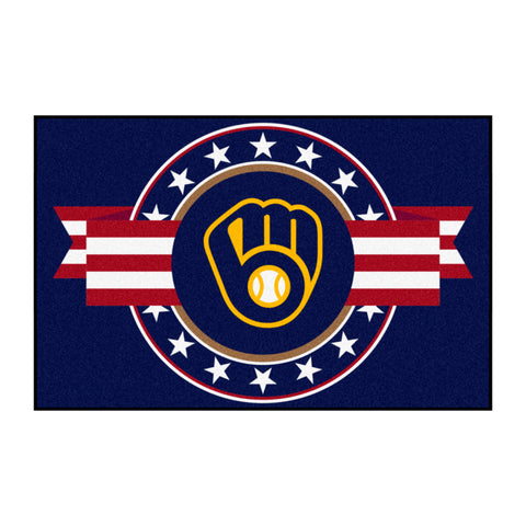 "MLB - Milwaukee Brewers Starter Mat - MLB Patriotic 19""x30"""
