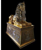 Egyptian Sphinx on Egyptian Plinth- Gold Finish (Freight Shipping)