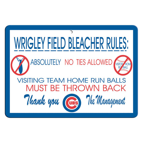 Chicago Cubs Sign 12x18 Plastic Wrigley Field Bleacher Rules Design