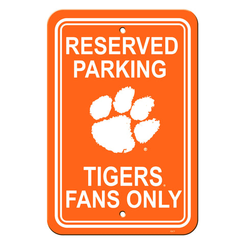 Clemson Tigers Sign - Plastic - Reserved Parking - 12 in x 18 in