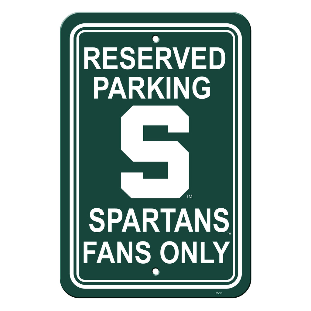 Michigan State Spartans Sign - Plastic - Reserved Parking - 12 in x 18 in