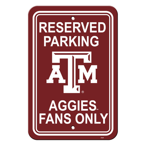 Texas A&M Aggies Sign - Plastic - Reserved Parking - 12 in x 18 in