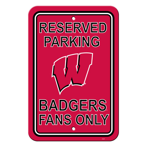 Wisconsin Badgers Sign - Plastic - Reserved Parking - 12 in x 18 in