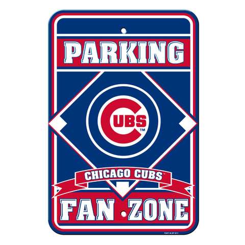 Chicago Cubs Sign - Plastic - Fan Zone Parking - 12 in x 18 in