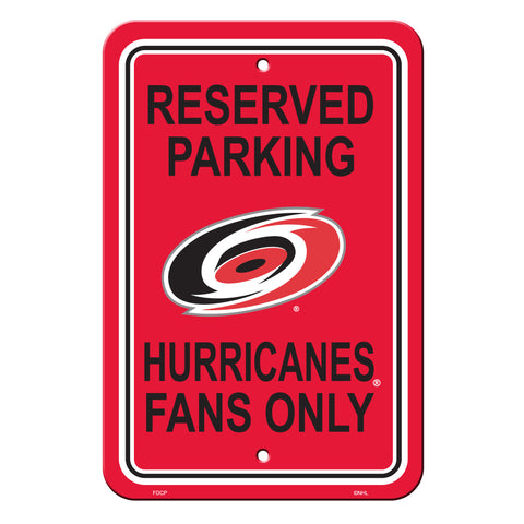Carolina Hurricanes Sign - Plastic - Reserved Parking - 12 in x 18 in - Special Order