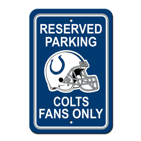 Indianapolis Colts Sign - Plastic - Reserved Parking - 12 in x 18 in - Special Order