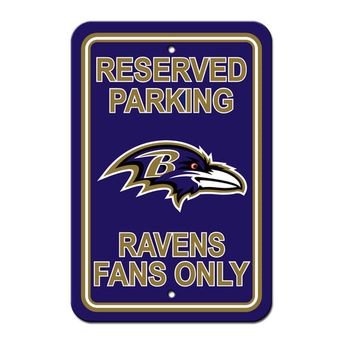 Baltimore Ravens Sign - Plastic - Reserved Parking - 12 in x 18 in