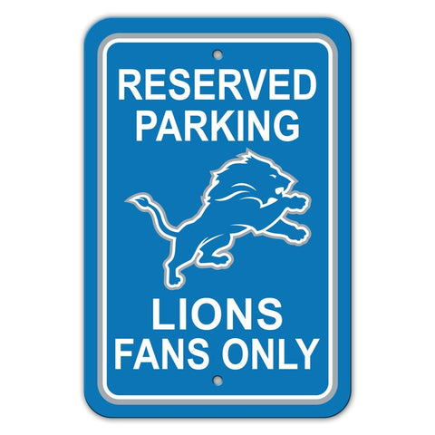 Detroit Lions Sign 12x18 Plastic Reserved Parking Style - Special Order