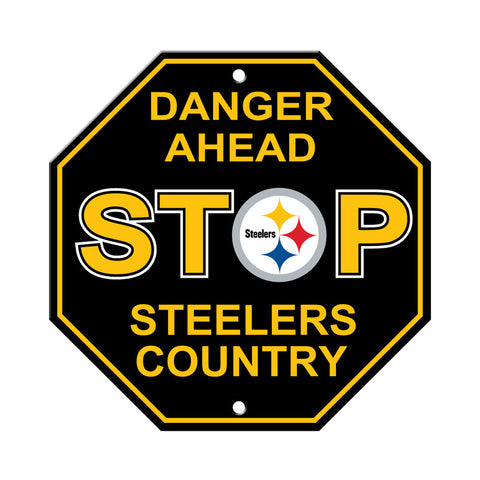 Pittsburgh Steelers Sign 12x12 Plastic Stop Style - Special Order
