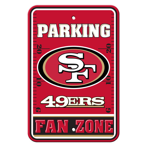 San Francisco 49ers Sign - Plastic - Fan Zone Parking - 12 in x 18 in