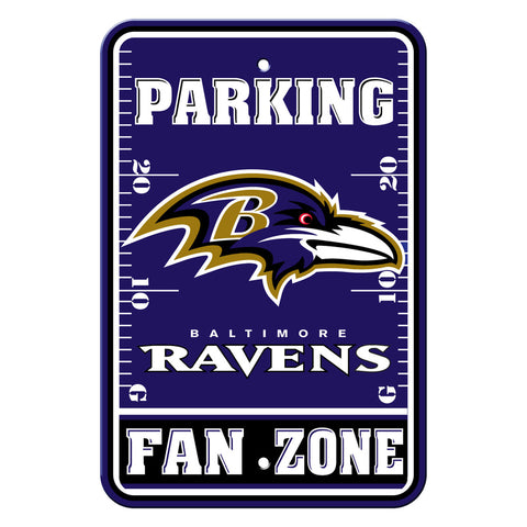 Baltimore Ravens Sign - Plastic - Fan Zone Parking - 12 in x 18 in - Special Order