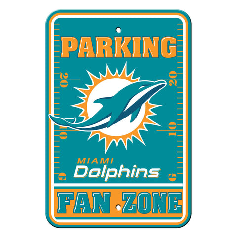 Miami Dolphins Sign 12x18 Plastic Fan Zone Parking Style
