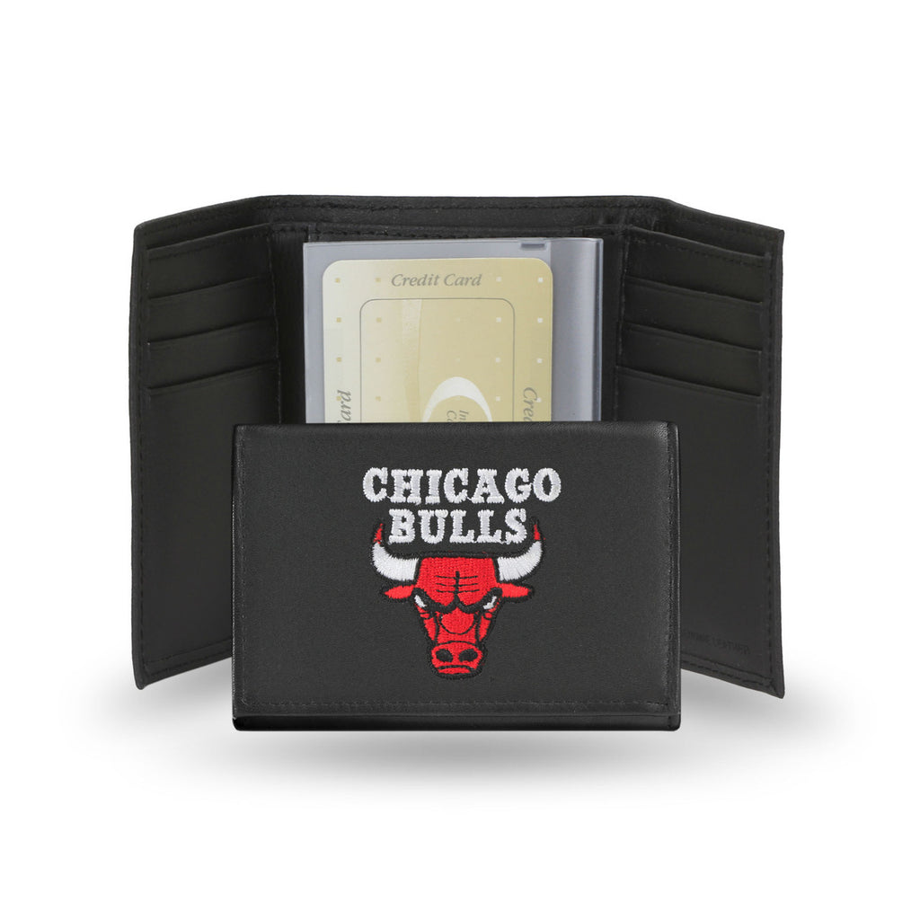 Chicago Bulls Embroidered Leather Tri-Fold Wallet