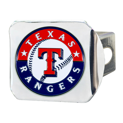 "MLB - Texas Rangers Color Hitch - Chrome 3.4""x4"""