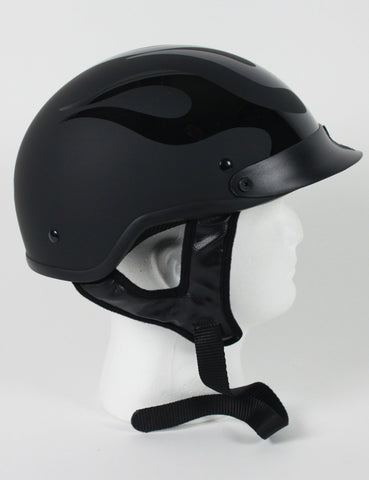DOT FLAT BLACK FLAME SHORTY MOTORCYCLE HELMET