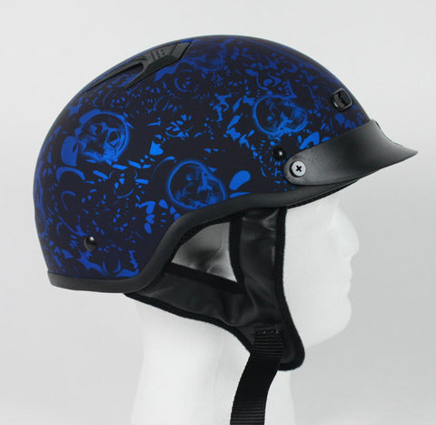 DOT Matte Bone Yard Blue Motorcycle Helmet