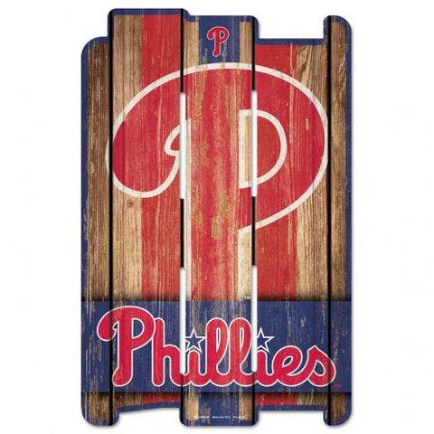 Philadelphia Phillies Sign 11x17 Wood Fence Style