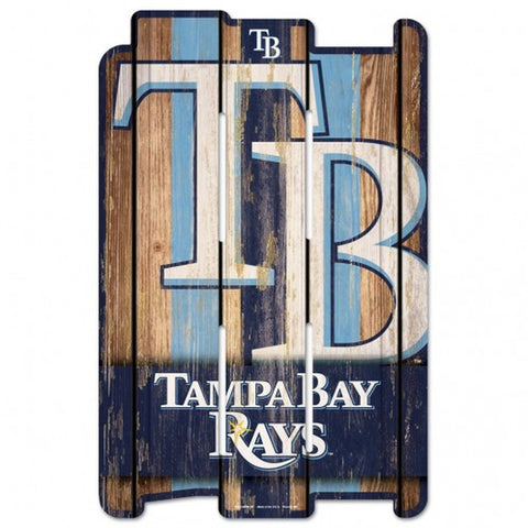 Tampa Bay Rays Sign 11x17 Wood Fence Style