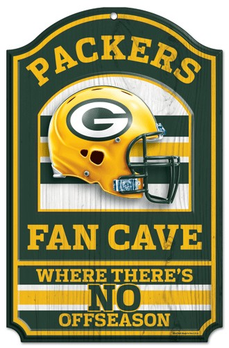"Green Bay Packers Wood Sign - 11""x17"" Fan Cave Design"