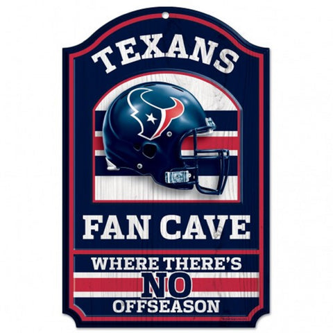 "Houston Texans Wood Sign - 11""x17"" Fan Cave Design"