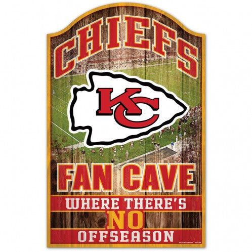 Kansas City Chiefs Wood Sign - 11x17 Fan Cave Design
