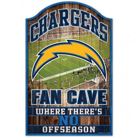 Los Angeles Chargers Sign 11x17 Wood Fan Cave Design
