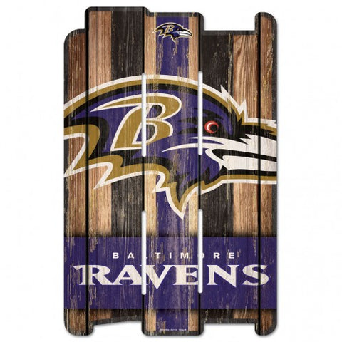 Baltimore Ravens Sign 11x17 Wood Fence Style
