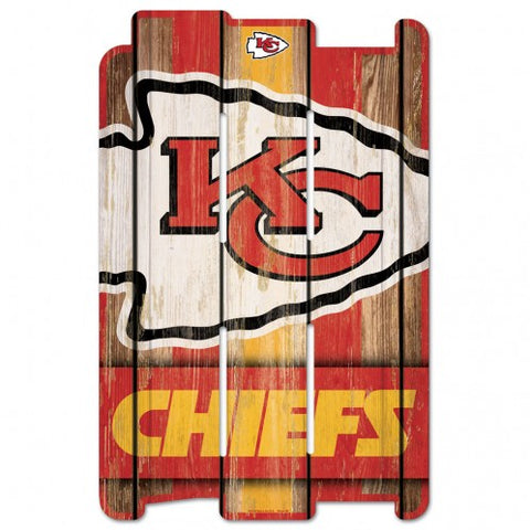 Kansas City Chiefs Sign 11x17 Wood Fence Style