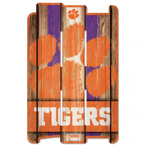 Clemson Tigers Sign 11x17 Wood Fence Style