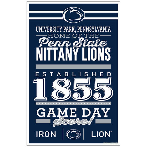 Penn State Nittany Lions Sign 11x17 Wood Established Design