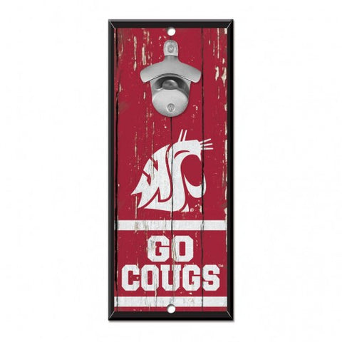Washington State Cougars Sign Wood 5x11 Bottle Opener - Special Order