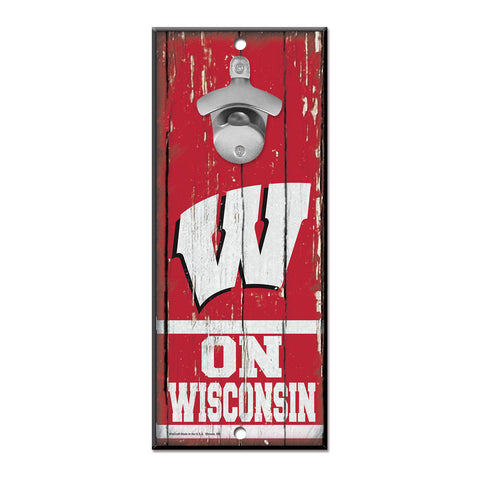 Wisconsin Badgers Sign Wood 5x11 Bottle Opener