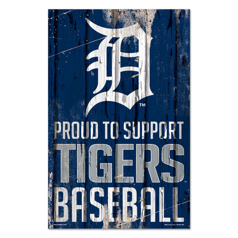 Detroit Tigers Sign 11x17 Wood Proud to Support Design - Special Order