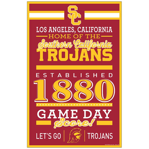 USC Trojans Sign 11x17 Wood Established Design - Special Order