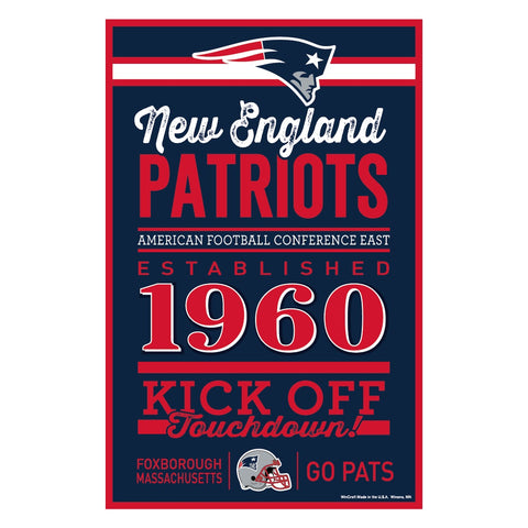 New England Patriots Sign 11x17 Wood Established Design