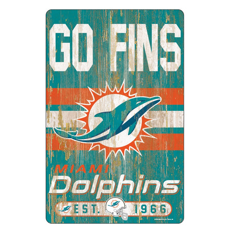Miami Dolphins Sign 11x17 Wood Slogan Design