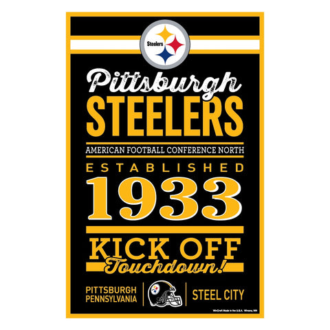 Pittsburgh Steelers Sign 11x17 Wood Wordage Design