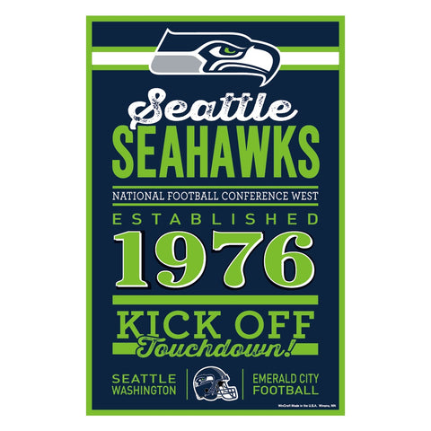 Seattle Seahawks Sign 11x17 Wood Established Design