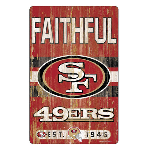 San Francisco 49ers Sign 11x17 Wood Slogan Design