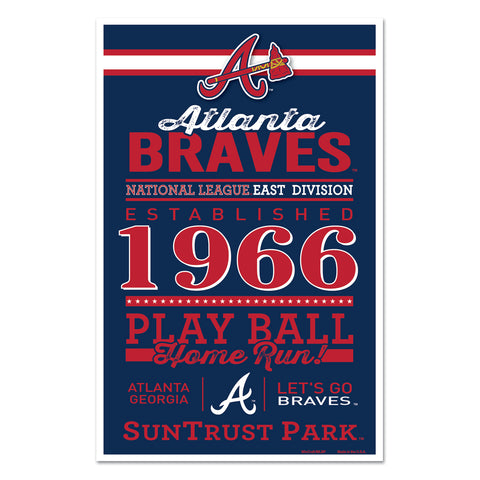 Atlanta Braves Sign 11x17 Wood Established Design - Special Order