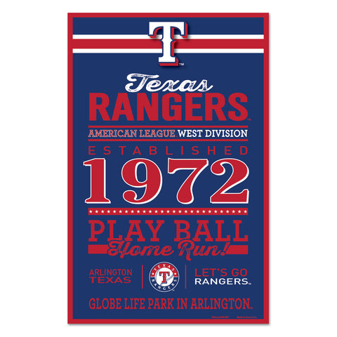 Texas Rangers Sign 11x17 Wood Established Design - Special Order