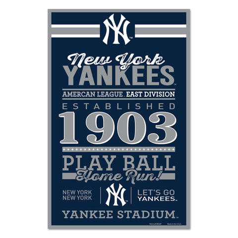 New York Yankees Sign 11x17 Wood Established Design