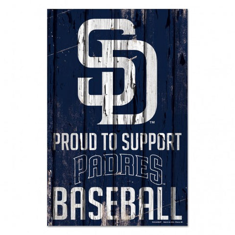 San Diego Padres Sign 11x17 Wood Proud to Support Design - Special Order