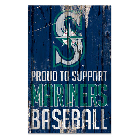 Seattle Mariners Sign 11x17 Wood Proud to Support Design - Special Order