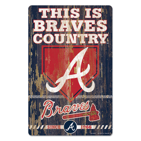 Atlanta Braves Sign 11x17 Wood Slogan Design
