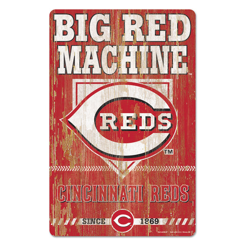 Cincinnati Reds Sign 11x17 Wood Slogan Design
