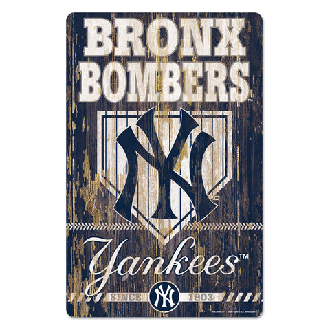 New York Yankees Sign 11x17 Wood Slogan Design