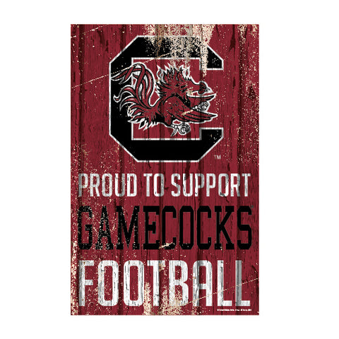 South Carolina Gamecocks Sign 11x17 Wood Proud to Support Design
